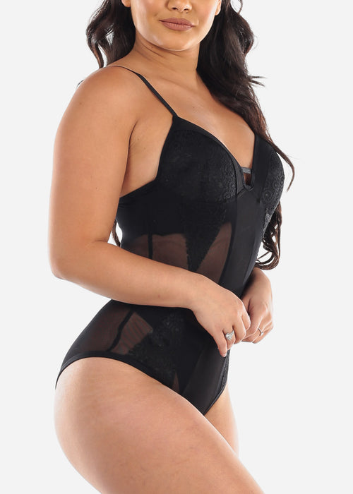 Sexy Sleeveless Padded Bust Mesh And Lace Solid Black Bodysuit