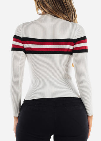 High Neck Ribbed White Sweater