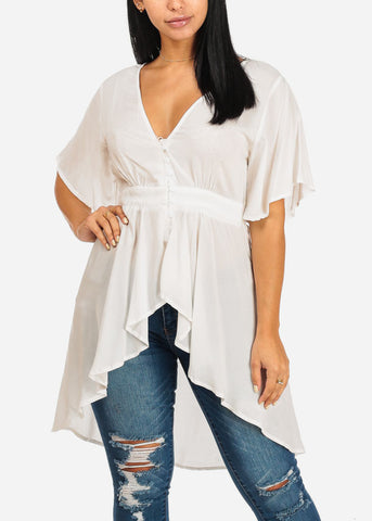 Image of White High Low asymmetrical Blouse