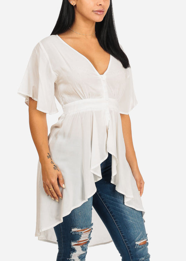 White High Low asymmetrical Blouse