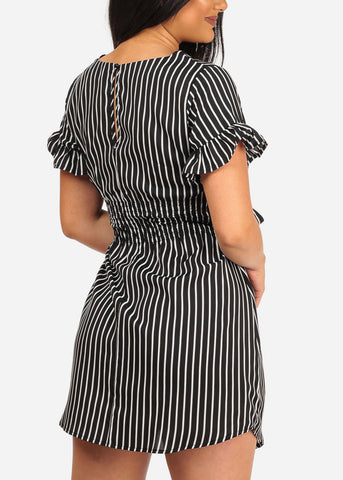 Women's Sexy Stylish Casual Black Stripe Lightweight Summer Dress