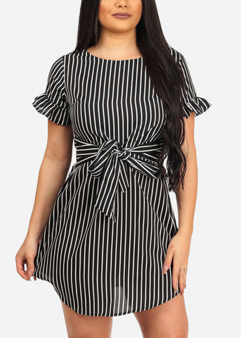 Image of Women's Sexy Stylish Casual Black Stripe Lightweight Summer Dress