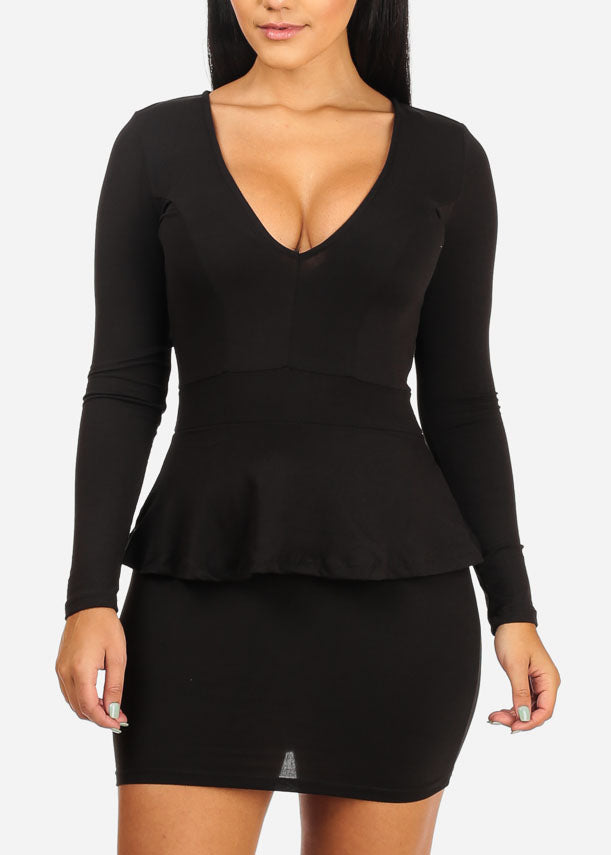 Clubwear Sexy Black Ruffle Mini Dress