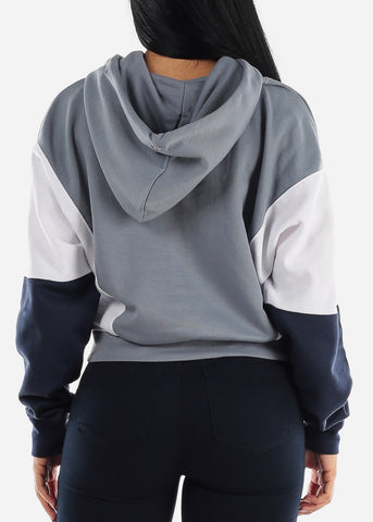 Grey Colorblock Long Sleeve Hoodie
