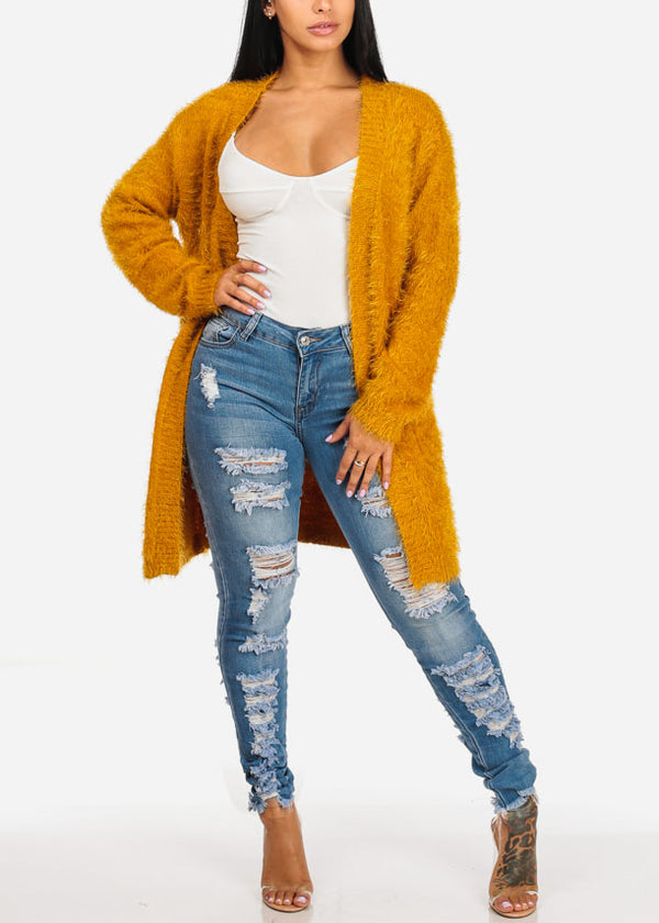 Fuzzy Open Front Mustard Cardigan