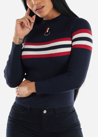 Image of High Neck Ribbed Navy Sweater