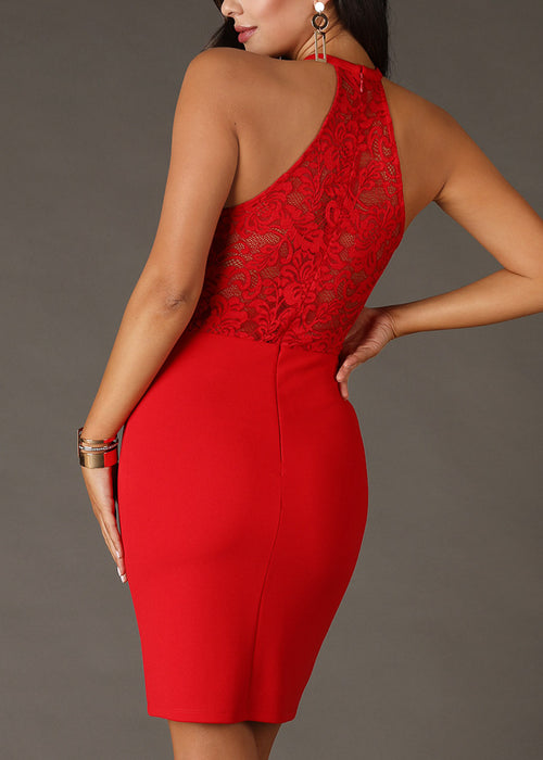 Sexy Halter Floral Lace Red Dress
