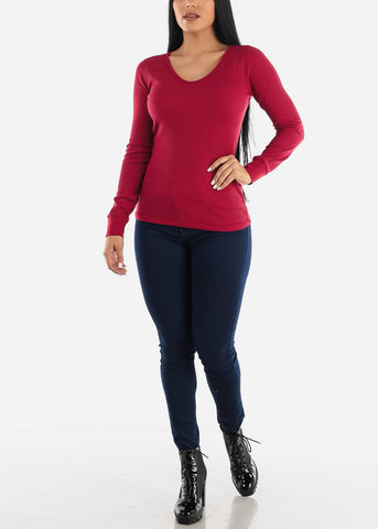 Waffle Knit Red Scoop Neck Top