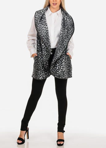 Image of Animal Print Fleece Vest