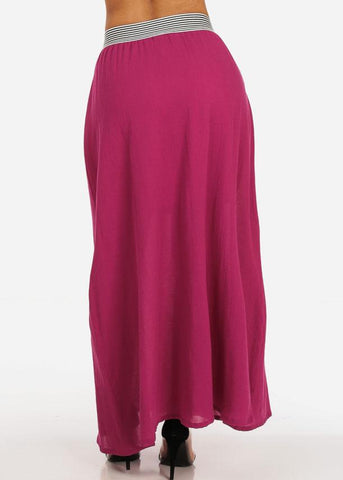 Stylish Lightweight Linen Gauze Pleathed Elastic Waist Fuchsia Long Maxi Skirt