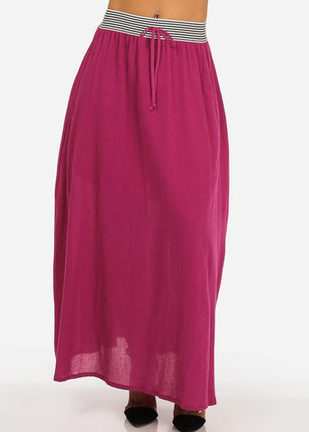 Image of Stylish Lightweight Linen Gauze Pleathed Elastic Waist Fuchsia Long Maxi Skirt