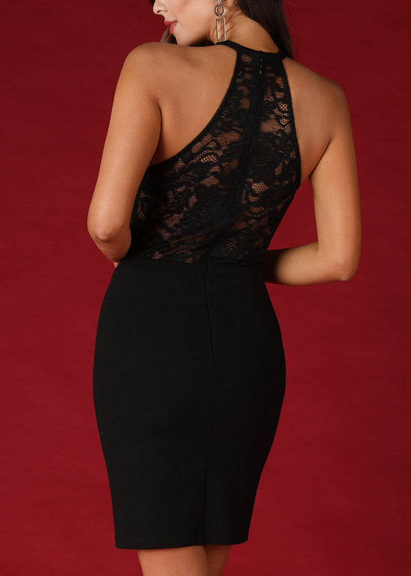Sexy Halter Floral Lace Black Dress