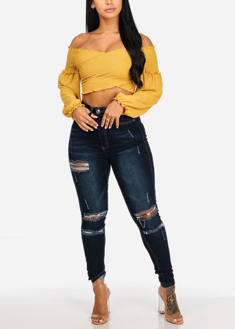 Mustard Crossover Shirr Stretchy Crop Top