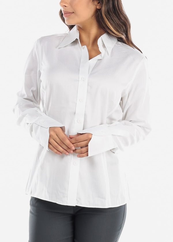 White Wrinkle-Free Printed Button Down Shirt