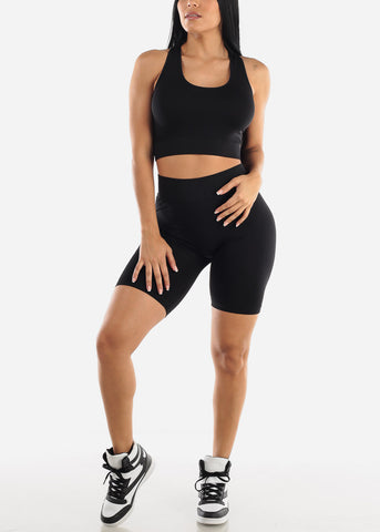 Black Sports Bra & Spandex Shorts (2 PCE SET)