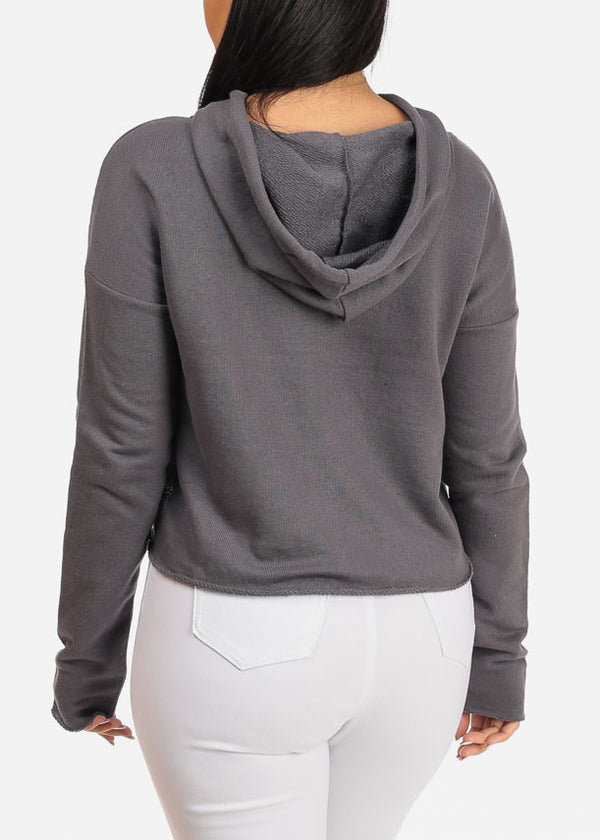 Grey Cropped Pullover W Hood