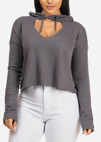 Image of Grey Cropped Pullover W Hood
