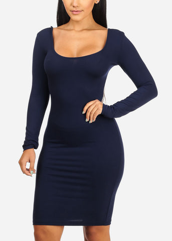 Sexy Stretchy Navy Bodycon Dress