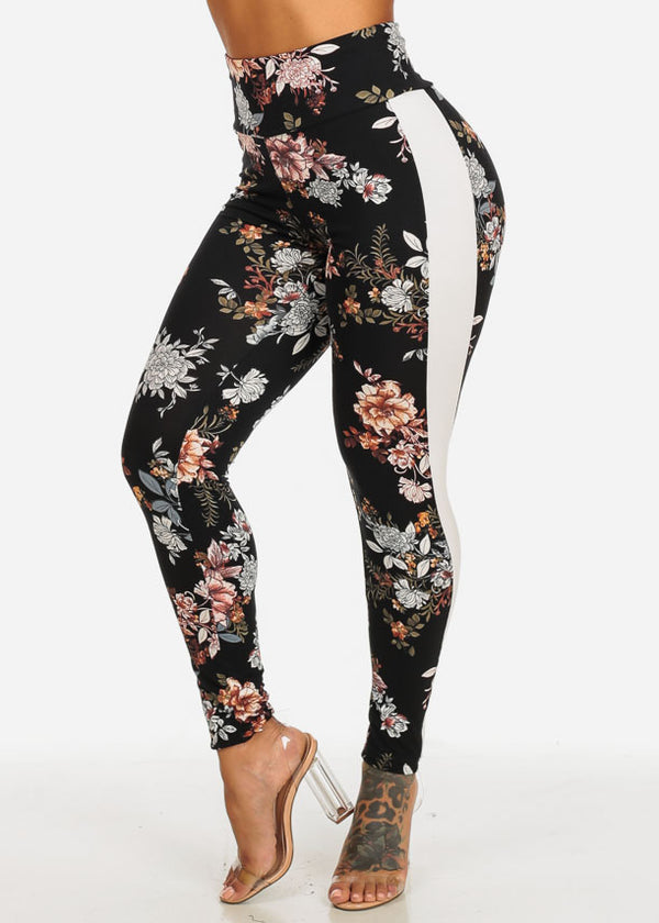High Waisted Black Floral Print Stretchy Leggings with White Stripe