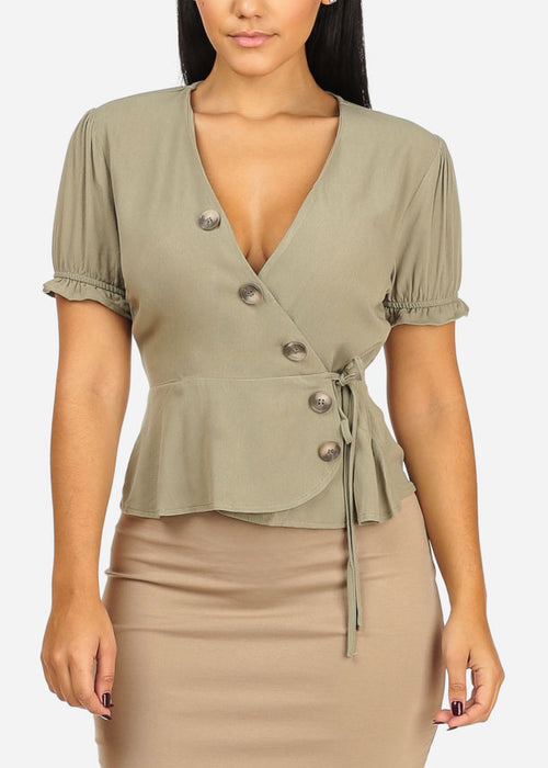 Casual Elastic Wrap Front Olive Top