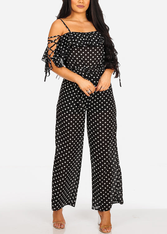 Sexy Lightweight Black Polka Dot Jumpsuit