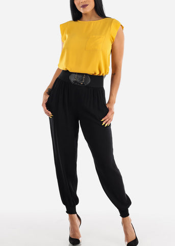 Image of Elastic Waist Lightweight Black Pants