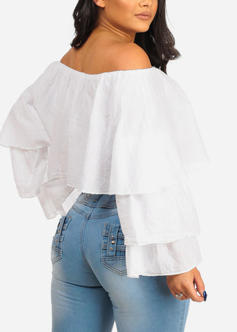 Image of Off Shoulder White Crop Top