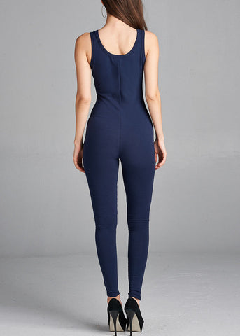 Sleeveless Basic Navy Jumpsuit