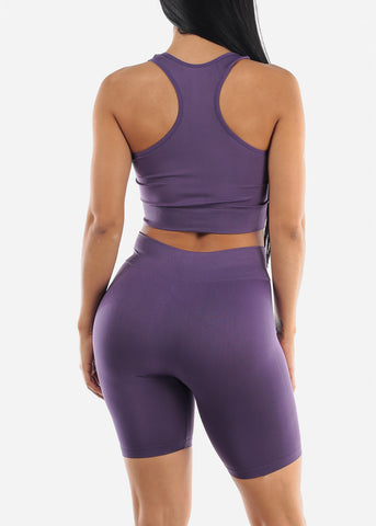 Image of Purple Sports Bra & Spandex Shorts (2 PCE SET)