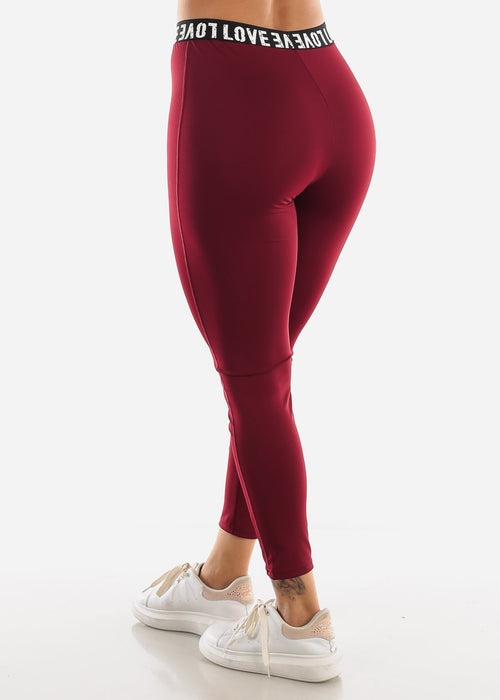 """LOVE"" Burgundy Top & Leggings (2 PCE SET)"
