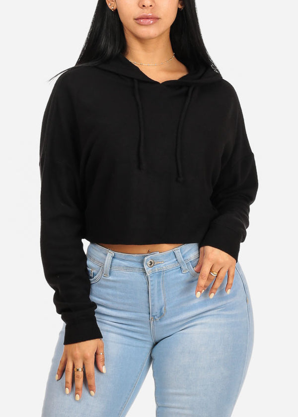 Casual Loose Fit Black Sweater Crop Top