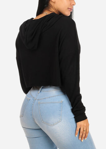 Image of Casual Loose Fit Black Sweater Crop Top