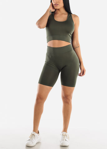 Olive Sports Bra & Spandex Shorts (2 PCE SET)