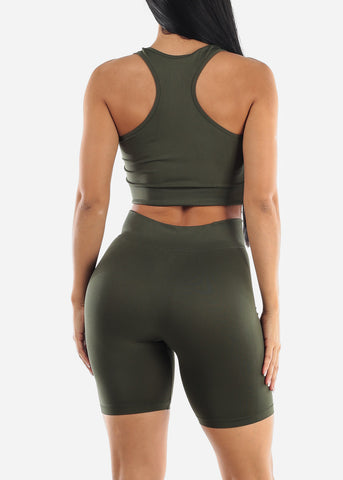 Image of Olive Sports Bra & Spandex Shorts (2 PCE SET)