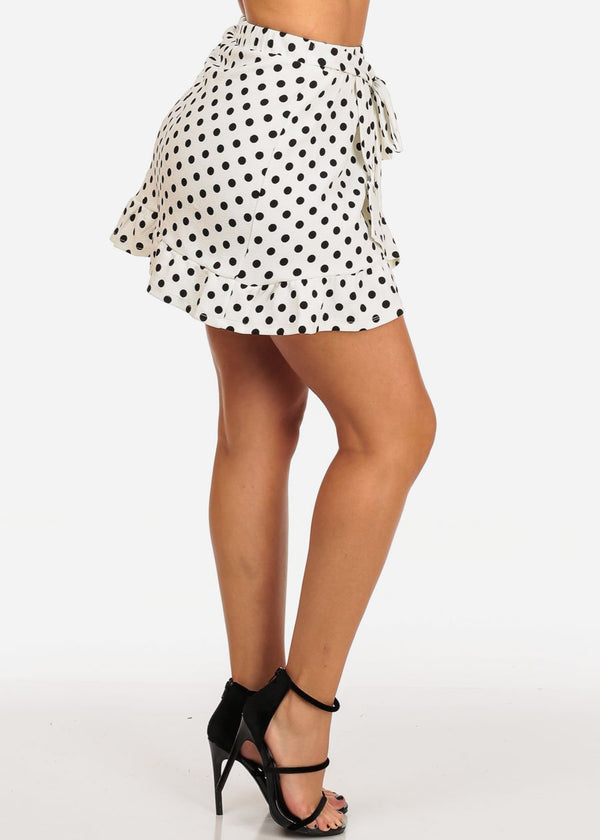 Ruffled White Polka Dot Skirt