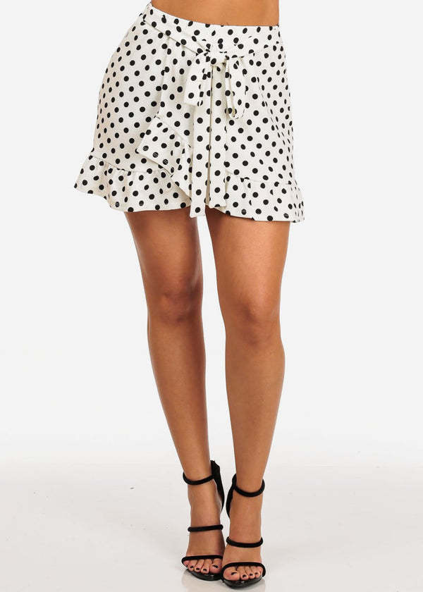 Casual Cute White Polka Dot Mini Skirt W Tie Belt