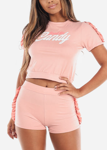 Cute Sexy Crop Top And Shorts Peach Mauve Two Piece Sets For Women Ladies Junior Casual Going Out