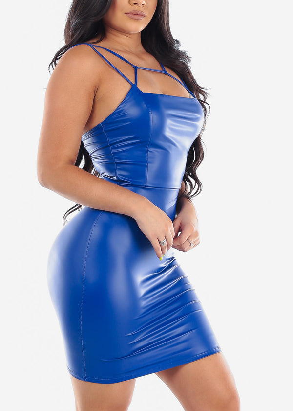 Sexy Royal Blue Pleather Dress