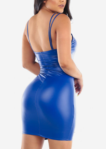 Women's Junior Ladies Sexy Stylish Trendy Must Have Night Out Clubwear Tight Fit Above Knee Short Royal Blue Faux Leather Dress