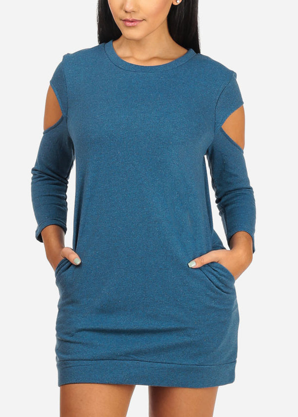 Band Bottom Cold Shoulder Blue Dress