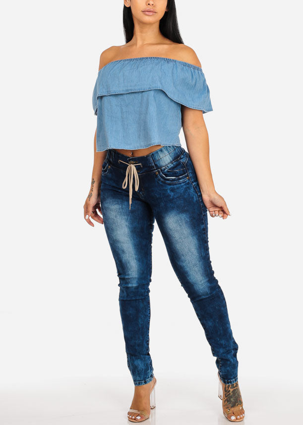 Casual Blue Denim  Ruffled Blouse