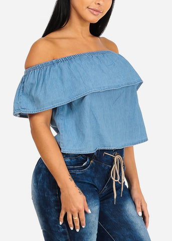 Image of Casual Blue Denim  Ruffled Blouse