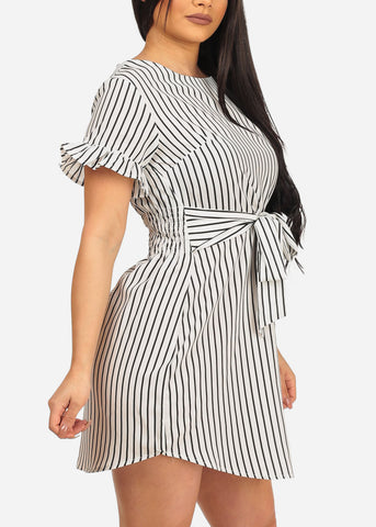 Image of Women's Sexy Stylish Casual White Stripe Lightweight Summer Dress