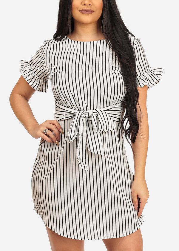 Women's Sexy Stylish Casual White Stripe Lightweight Summer Dress