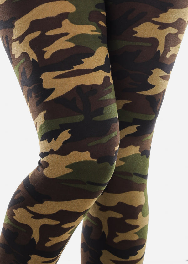Black Camouflage Print Stretchy Leggings