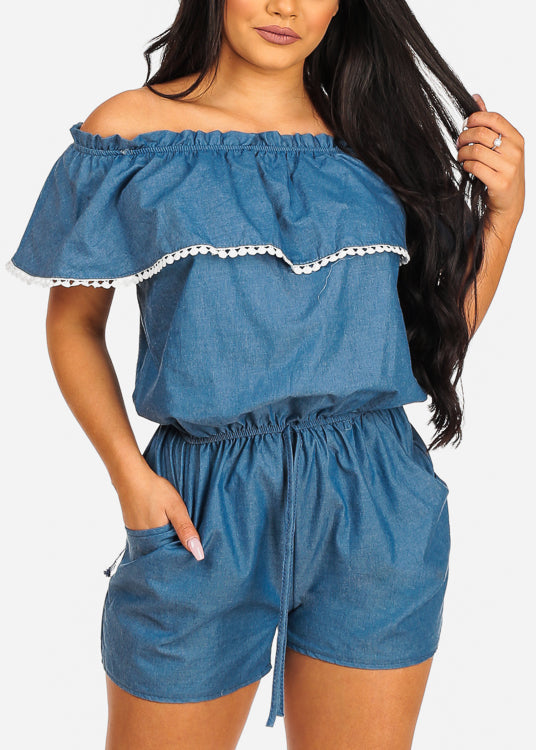 Cute Off Shoulder Ruffled Detail Med Wash Denim Romper