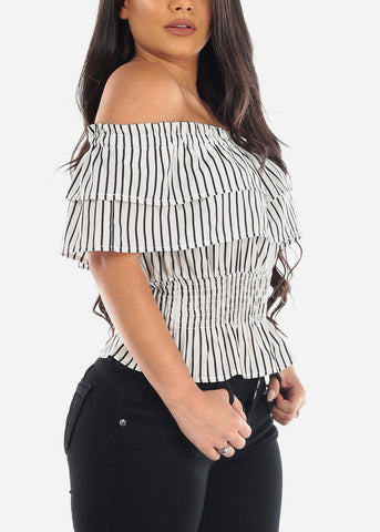 Sexy Off The Shoulder White Stripe Shirring Lightweight Crop Top