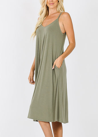 Light Olive Cami Knee Length Dress