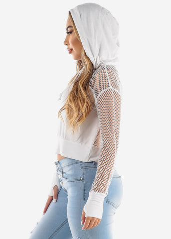 Fishnet Detail Long Sleeve White Hoodie
