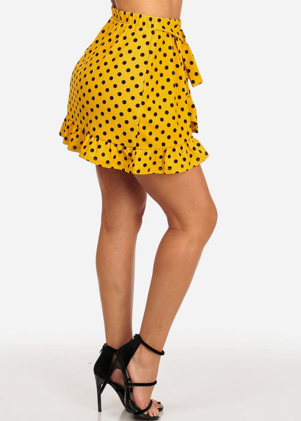 Ruffled Mustard Polka Dot Skirt